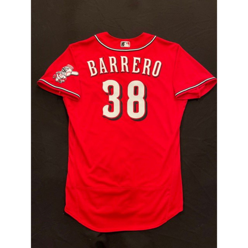 Photo of Jose Barrero -- 2021 Los Rojos Jersey -- Game Used from Sept 24 (Pinch Hitter) -- Size: 46