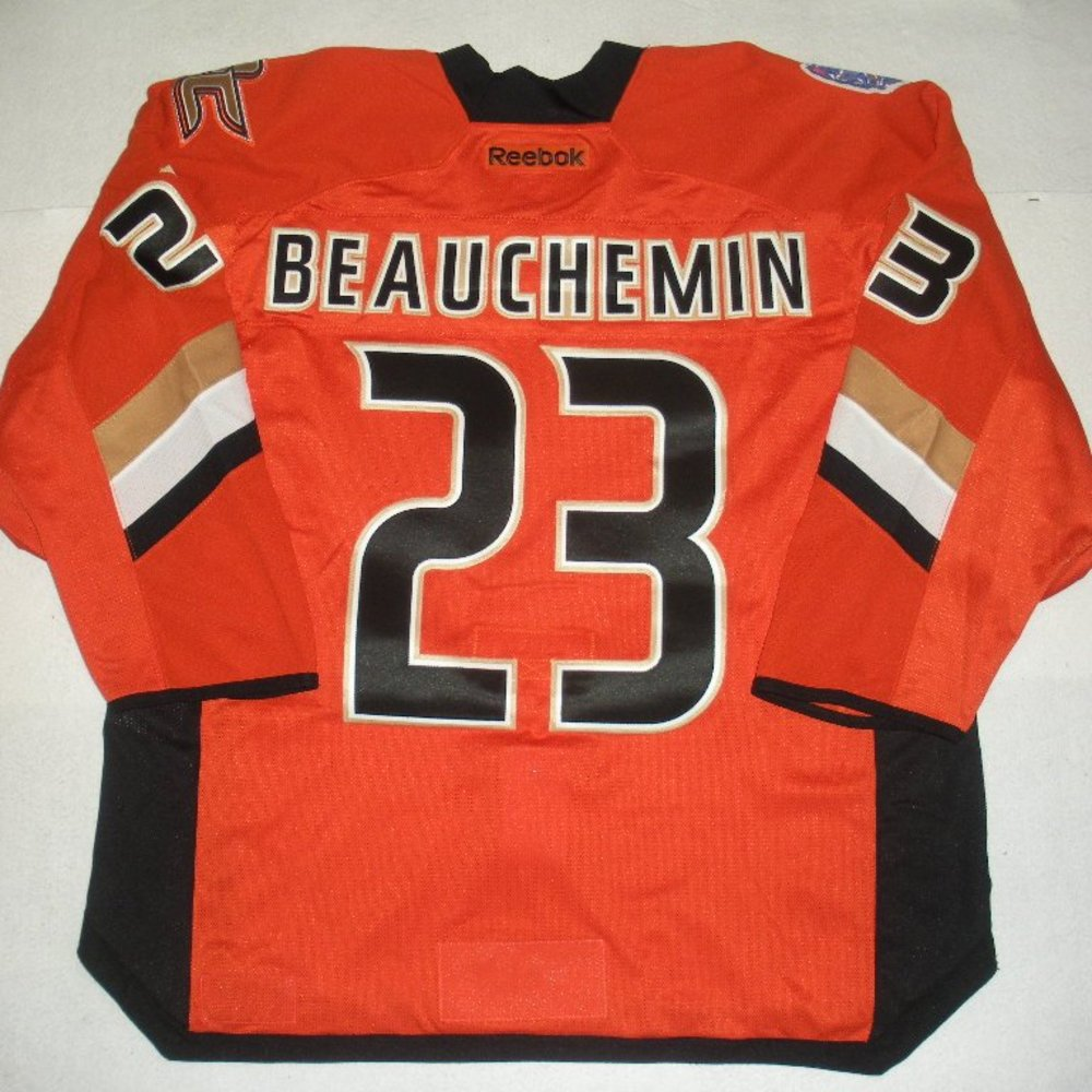 Francois Beauchemin - 2014 Stadium Series - Anaheim Ducks - Orange Game-Worn Jersey - Worn in First Period
