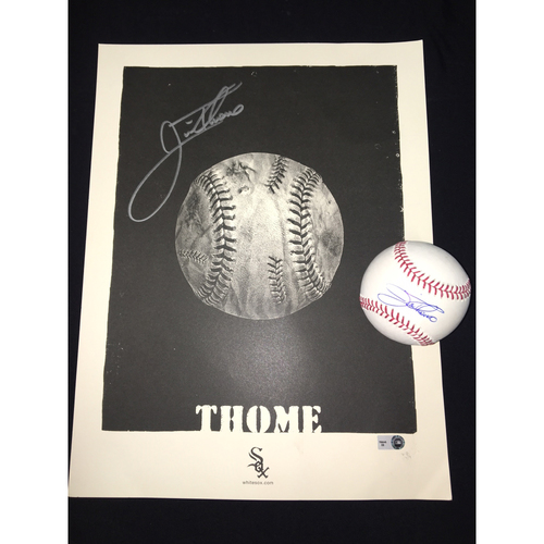 Jim Thome Autographed Art Piece and Baseball