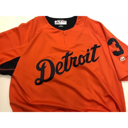 Photo of 2017 Team-Issued Detroit Tiger #3 Road Batting Practice Jersey