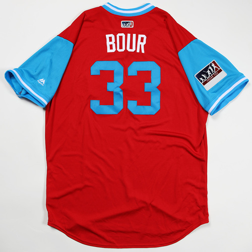 "Photo of Justin ""Bour"" Bour Philadelphia Phillies Team Issued Jersey 2018 Players' Weekend Jersey"