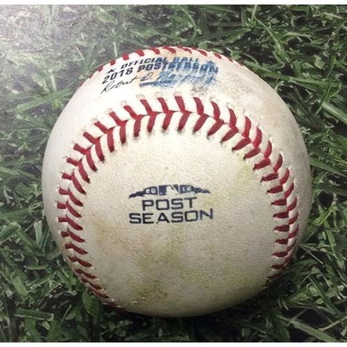 Photo of Game-Used Baseball NLDS Game 1 COL@MIL 10/04/18 - Jeremy Jeffress - Nolan Arenado: Game-Tying, RBI Sacrifice Fly
