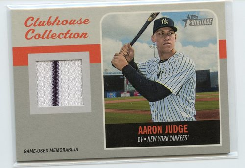 Photo of 2019 Topps Heritage Clubhouse Collection Relics #CCRAJ Aaron Judge
