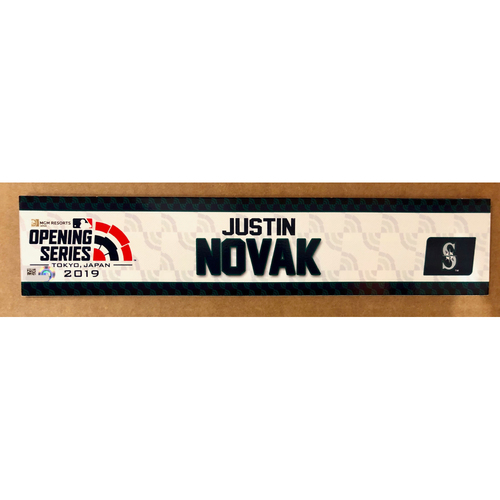Photo of 2019 Japan Opening Day Series - Game Used Locker Tag - Justin Novak -  Seattle Mariners