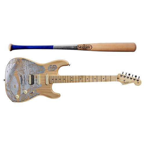 Photo of One-of-a-kind Artist-Painted Padres Louisville Slugger Bat and Fender Stratocaster Guitar