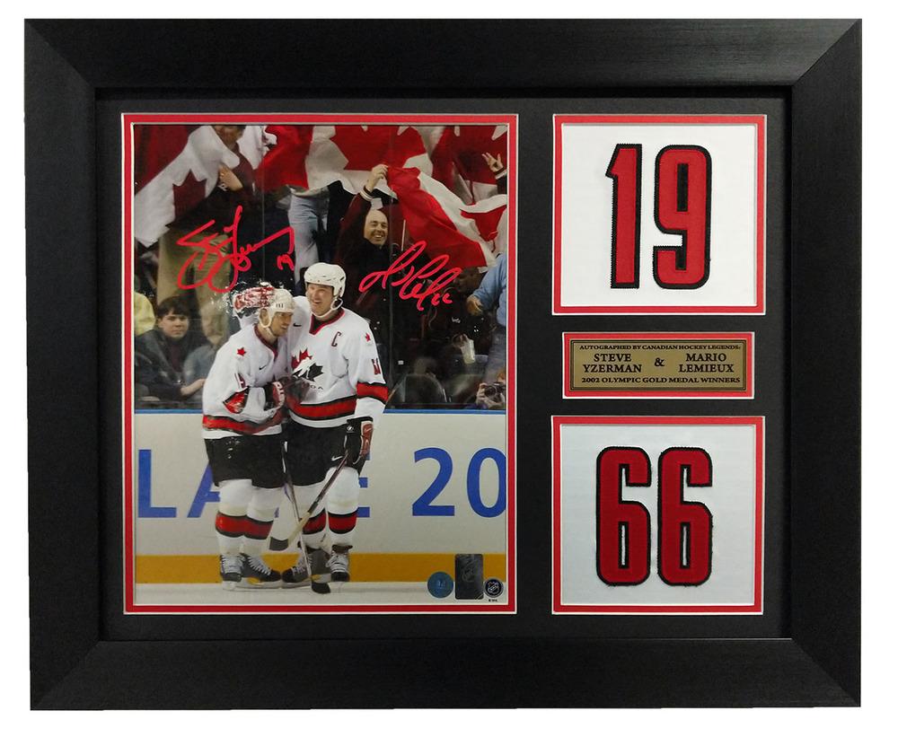 Mario Lemieux & Steve Yzerman Dual Signed Team Canada Jersey Number 20x24 Frame