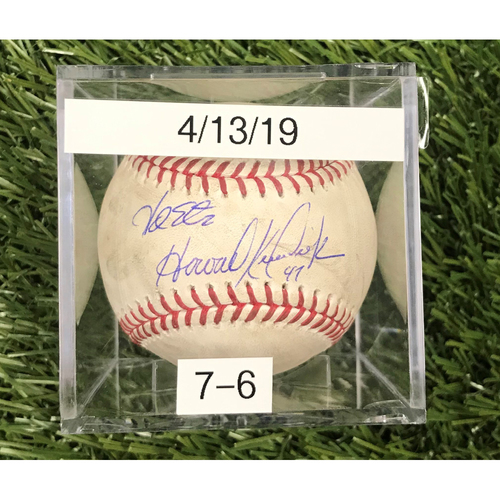 Win #7: 4/13/2019 Game-Used Baseball - Autographed by Adam Eaton and Howie Kendrick