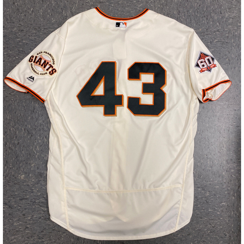 Photo of 2018 Game Used Home Opening Day Cream Jersey worn by #43 Curt Young on 4/3 vs. Seattle Mariners - Size 50