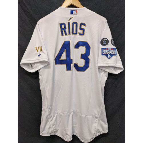 Photo of Edwin Rios Game-Used Gold Trim 2021 Opening Weekend Home Jersey