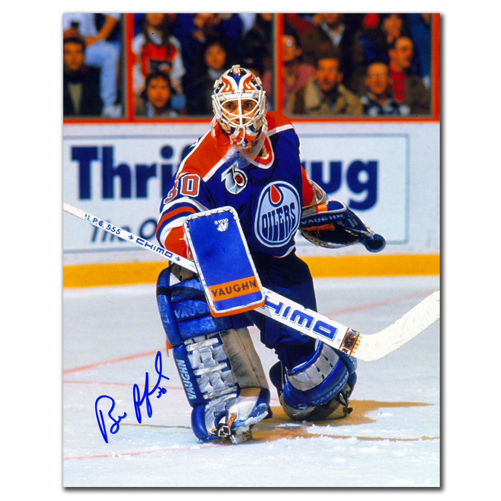 Bill Ranford Edmonton Oilers ACTION Autographed 8x10