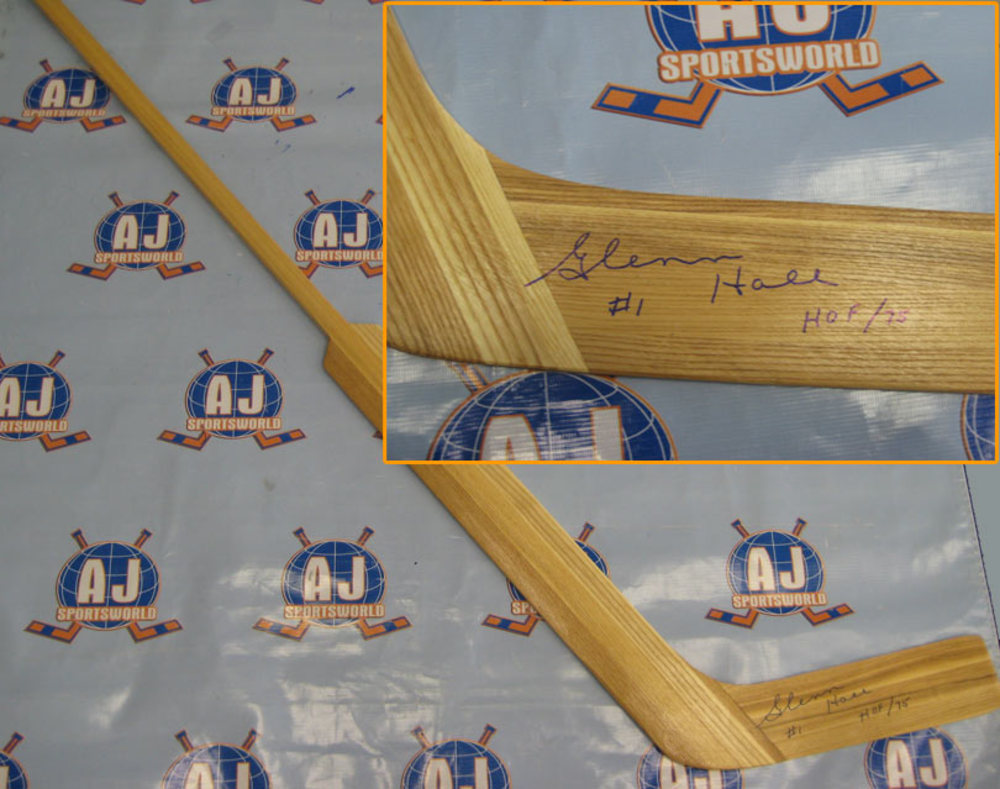 GLENN HALL Autographed Goalie Stick *Chicago Blackhawks & St. Louis Blues*