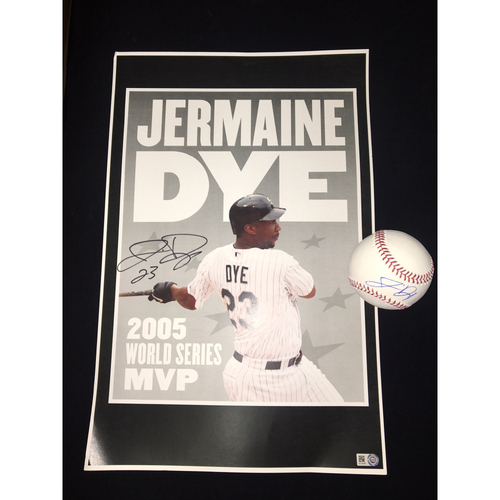 Jermaine Dye Autographed Small Poster and Baseball