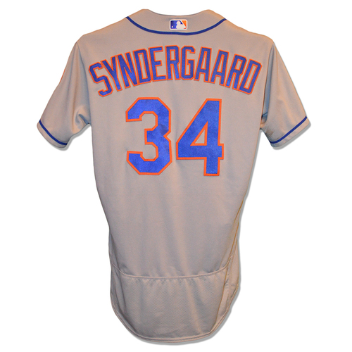 Photo of Noah Syndergaard #34 - Game Used Road Grey Jersey - First Career Complete Game; 9 IP, 11 K's, Earns 10th Win - Mets vs. Giants - 9/2/18