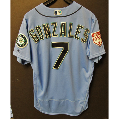Photo of Marco Gonzales Team Issued Light Blue Spring Training Jersey 2019  Exhibition Game - SD @ SEA 3-26-2019