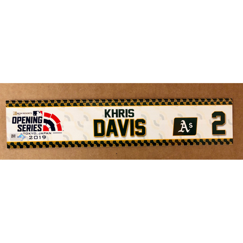 Photo of 2019 Japan Opening Day Series - Game Used Locker Tag - Khris Davis -  Oakland Athletics