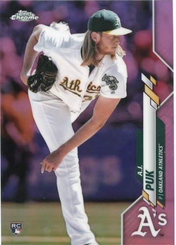 Photo of 2020 Topps Chrome Pink Refractors #116 A.J. Puk