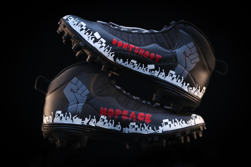 My Cause My Cleats - Patriots Anferee Jennings custom cleats supporting - Campaign Zero - Cleats will be autographed