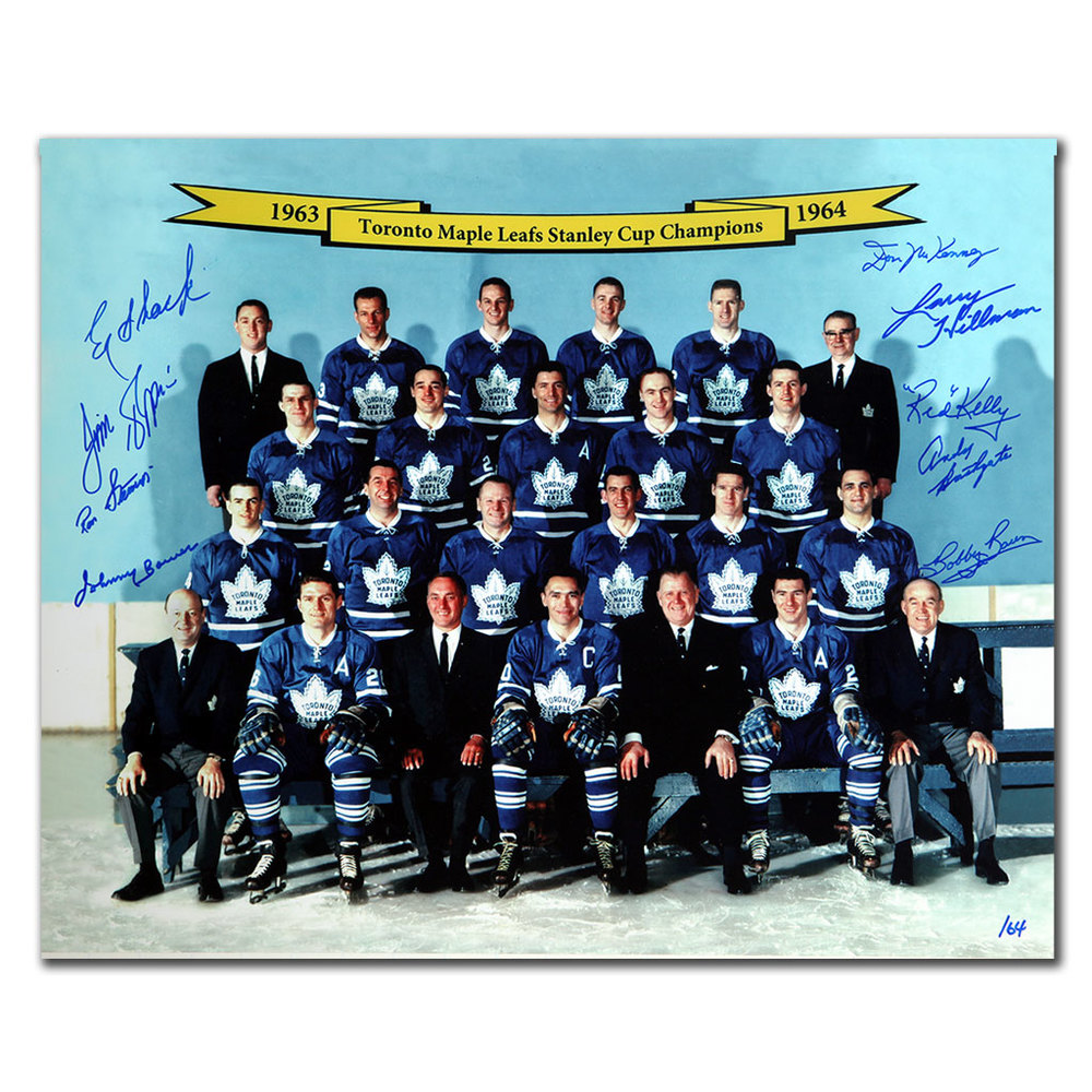 1964 Toronto Maple Leafs Stanley Cup Champions Autographed 16x20 Signed by 9