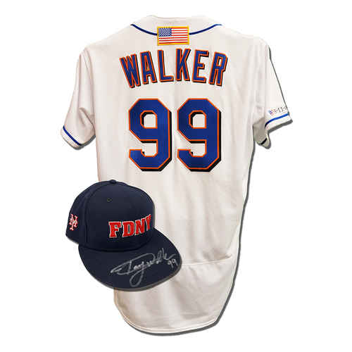 Photo of Taijuan Walker #99 - Autographed Game Used First Responder Hat and Game Used White Commemorative Jersey with American Flag Patch - 6 IP, 8 K's - Mets vs. Yankees - 9/11/2021