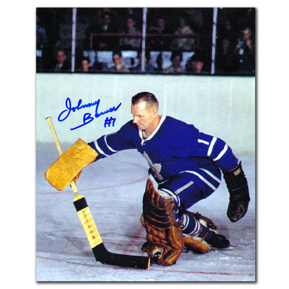Johnny Bower Toronto Maple Leafs BLOCKER SAVE Autographed 8x10