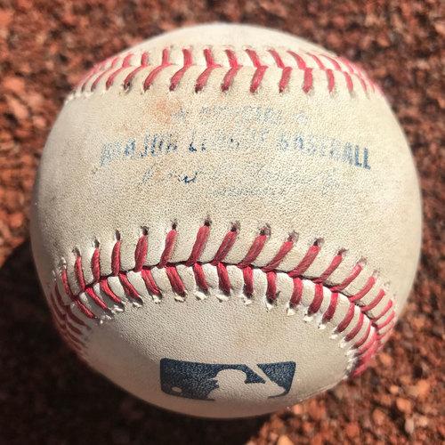 San Francisco Giants - 2017 Game-Used Baseball - Hunter Strickland strikes out Pat Valaika