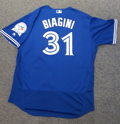 Photo of Authenticated Game Used Jersey - #31 Joe Biagini (July 30th, 2016). Biagini went 0.2 IP with 2 hits and 0 ER. Size 52