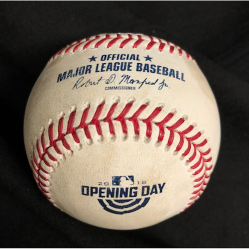 Photo of Bryce Harper First At-Bat of 2018 Season -- Homer Bailey to Harper (Ball in Dirt) -- 2018 Opening Day -- WSH vs. CIN on 3/30/18