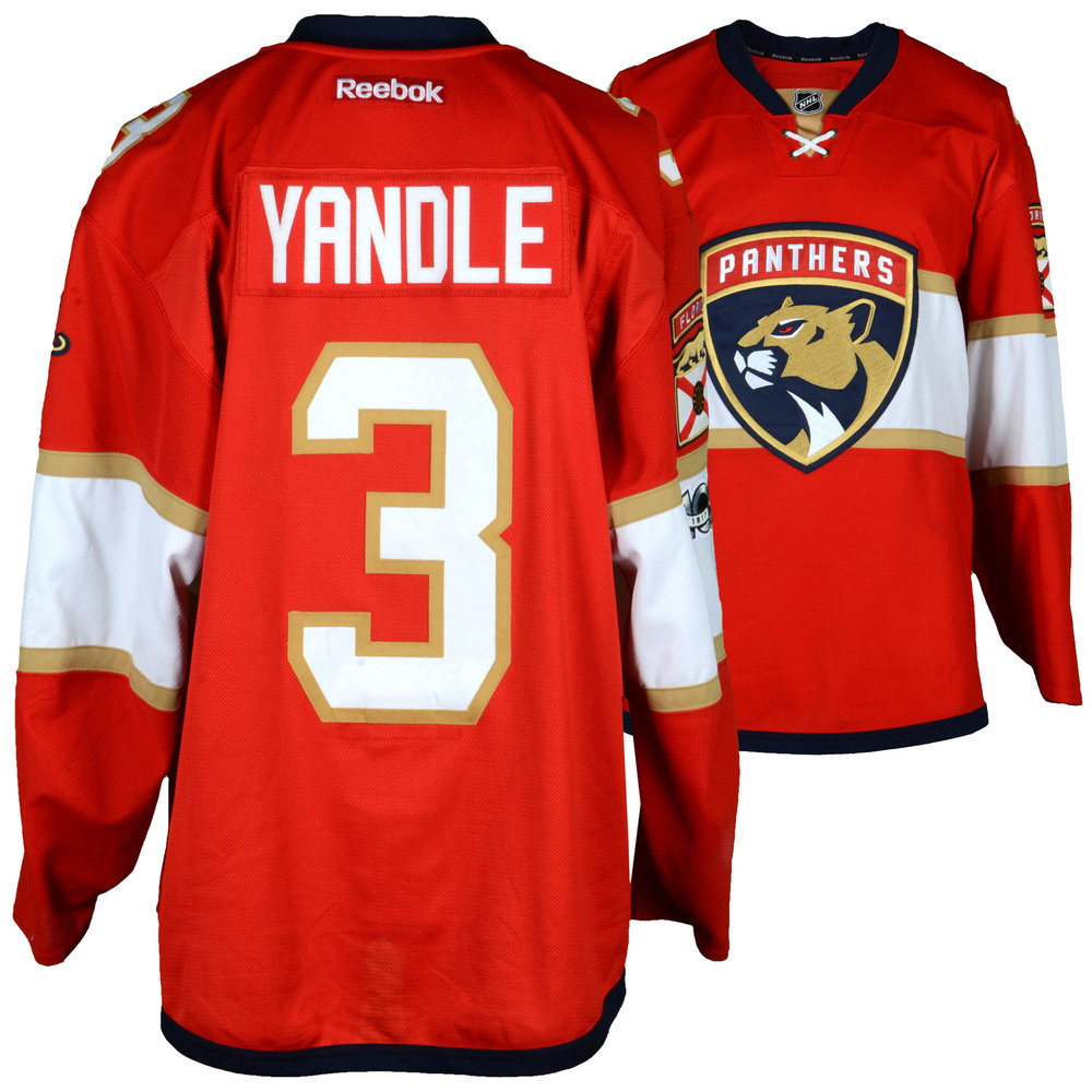 on sale 3b1c9 8d032 Keith Yandle Florida Panthers Game-Used #3 Red Set 1 Jersey ...