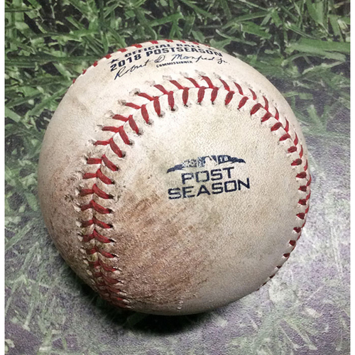Photo of Game-Used Baseball NLDS Game 2 COL@MIL 10/05/18 - Jhoulys Chacin - Charlie Blackmon: Foul