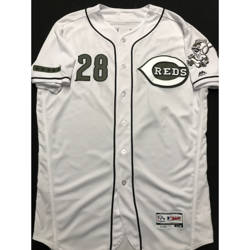 Photo of Anthony DeSclafani - Team-Issued - Military Appreciation Jersey; (Worn: 2018) - 8/10 Starting Pitcher, 7 IP, 9 SO, 0 ER, W