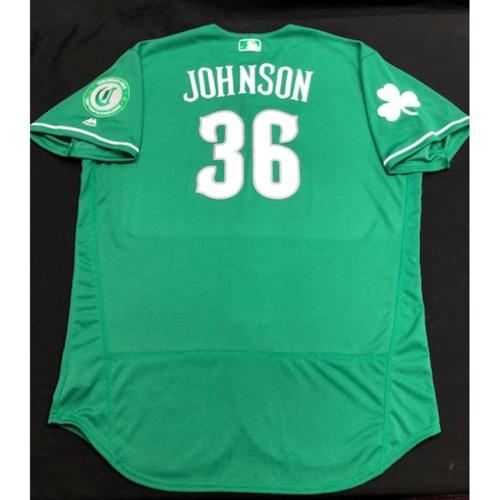 Photo of Derek Johnson -- Game-Used Jersey -- 2019 St. Patrick's Day