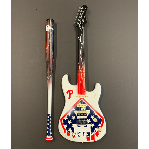 Photo of One-of-a-kind Artist-Painted Phillies Louisville Slugger Bat and Fender Stratocaster Guitar