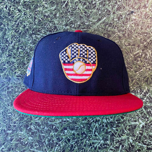 Photo of Game-Used 2019 Cap: Corbin Burnes #39 Stars & Stripes