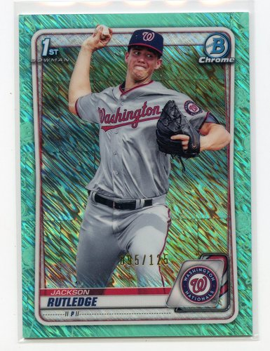 Photo of 2020 Bowman Chrome Prospects Aqua Shimmer Refractors #BCP91 Jackson Rutledge