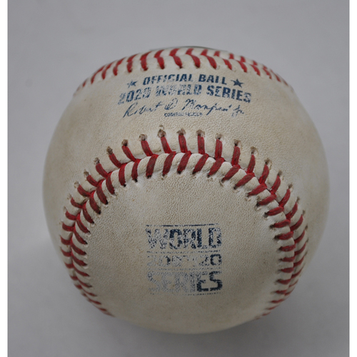 Photo of Game-Used Baseball - 2020 World Series - Los Angeles Dodgers vs. Tampa Bay Rays - Game 5 - Pitcher: Clayton Kershaw, Batter: Randy Arozarena (Foul) - Bot 1