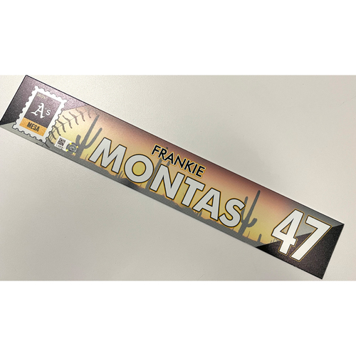 Photo of Game-Used 2021 Spring Training Locker Nameplate - Frankie Montas
