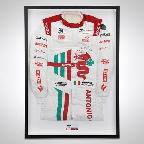 Photo of Antonio Giovinazzi 2021 Signed Race Used Race Suit - Italian GP