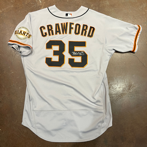 Photo of 2021 Autographed Game Used Road Jersey worn and Signed by #35 Brandon Crawford - Size 48 - 10/12 NLDS Game 4 @ LAD