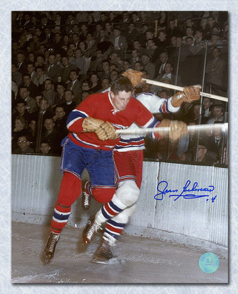 Jean Beliveau Montreal Canadiens Autographed Checking 8x10 Photo