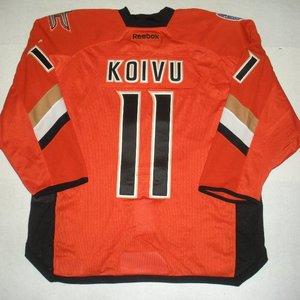 Saku Koivu - 2014 Stadium Series - Anaheim Ducks - Orange Game-Worn Jersey - Worn in First Period