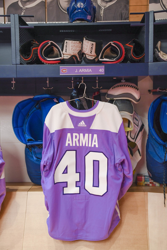 #40 Joel Armia Warm-Up Worn and Autographed Hockey Fights Cancer Jersey