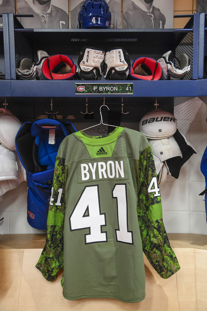 #41 Paul Byron Autographed Military jersey