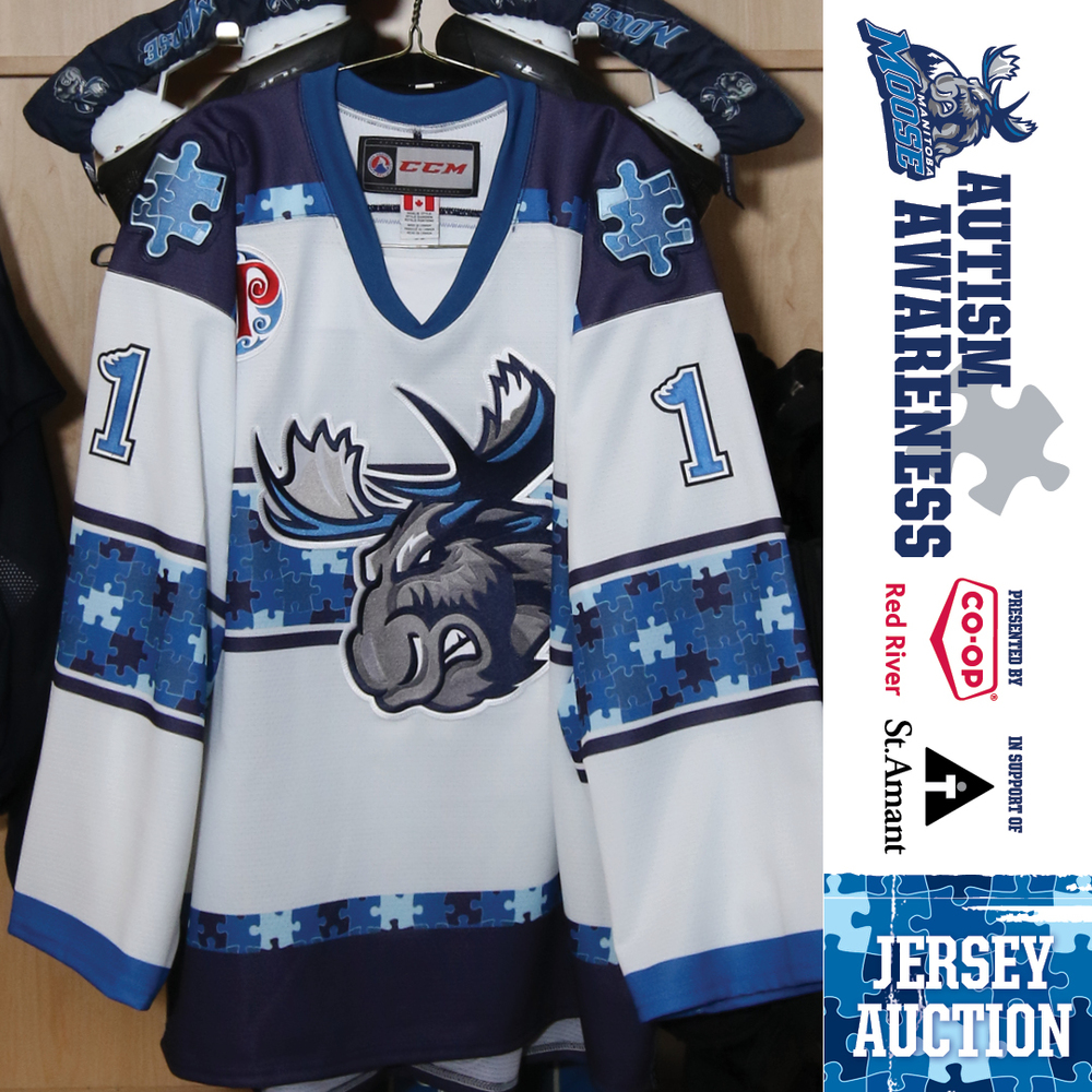 ERIC COMRIE Manitoba Moose Game Worn Autism Awareness Jersey