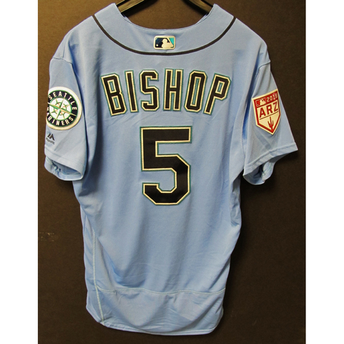 Photo of Braden Bishop Team Issued Light Blue Spring Training Jersey 2019  Exhibition Game - SD @ SEA 3-26-2019