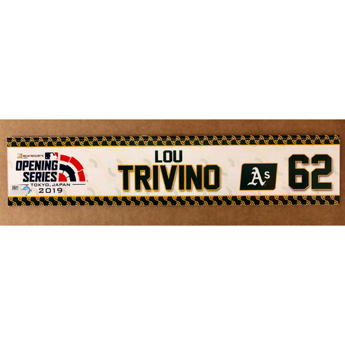 Photo of 2019 Japan Opening Day Series - Game Used Locker Tag - Lou Trivino -  Oakland Athletics