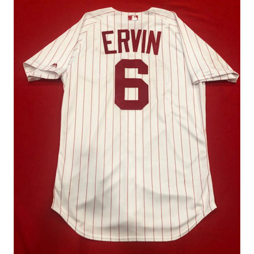 Photo of Phillip Ervin -- 1967 Throwback Jersey & Pants (Defensive Replacement in CF) -- Game-Used for Rockies vs. Reds on July 28, 2019 -- Jersey Size: 44 / Pants Size: 36-41-20
