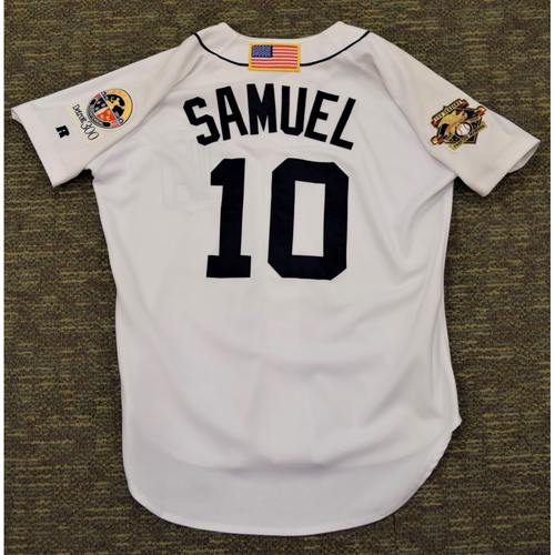 Photo of Juan Samuel Detroit Tigers #10 Home Jersey with 100th Season American League Charter Member Patch (NOT MLB AUTHENTICATED)