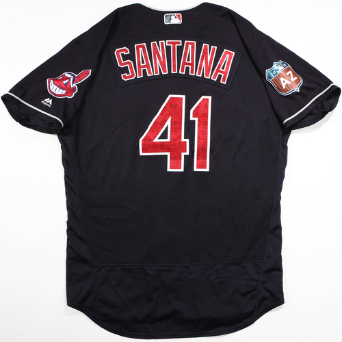 Photo of 2016 Spring Training - Spring Training Game Used Jersey - Carlos Santana (Indians)- Size- 48