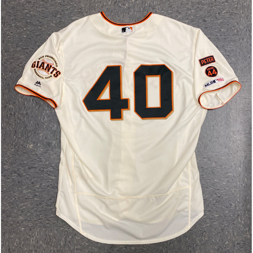 Photo of 2019 Game Used Home Opening Day Cream Jersey worn by #40 Madison Bumgarner on 4/5 vs. Tampa Bay Rays & 4/8 vs. San Diego Padres - Passed Gaylord Perry for 7th Most Strikeouts in Giants History - Size 50