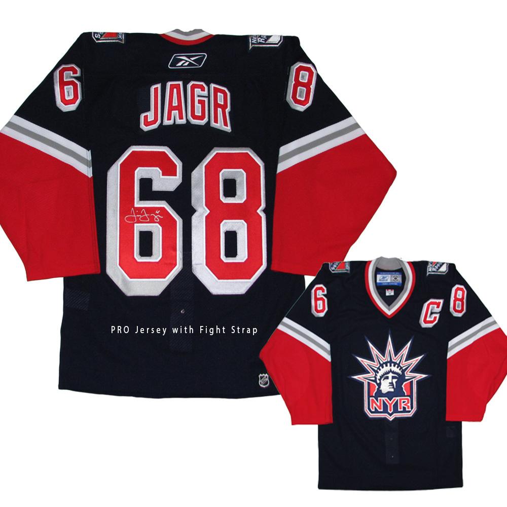 timeless design a9e78 1811f JAROMIR JAGR Signed New York Rangers PRO Blue RBK Jersey ...